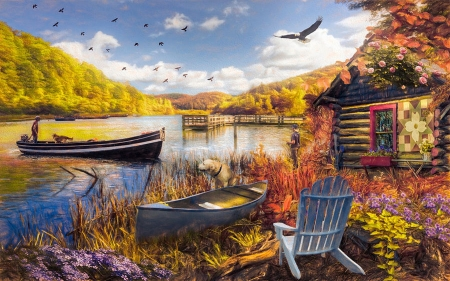Serenity at Lakeside - sky, trees, eagle, birds, cabin, clouds, artwork, boats, plants, painting, chair, nature