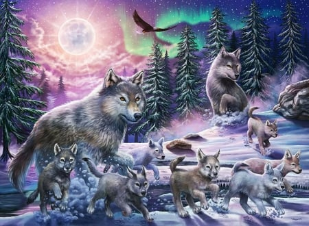 Wolves Family - forest, snow, painting, eagle, trees, winter, pups, artwork
