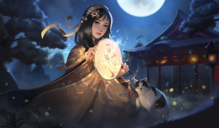 Fantasy girl - nighr, frumusete, luminos, luna, taoson, superb, hand fan, cat, fantasy, moon, evantai, girl, pisici, gorgeous, night
