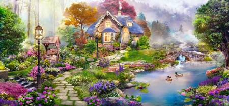House by the river - house, cottage, paradise, flowers, spring, river, swans, art, lake, pond