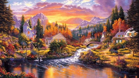 Morning Sunlight - bridge, mountains, houses, creek, sunset, trees, artwork, swans, painting