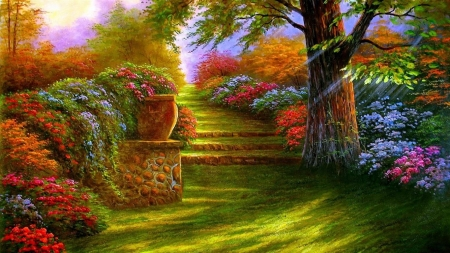 Garden of Color - painting, garden, flowers, spring, colorful