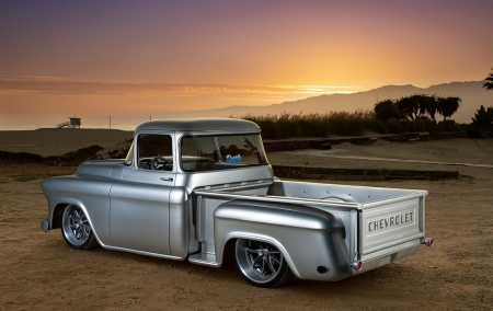 57 CHEVY 3100 PICKUP - Classic, Silver, Gm, Truck