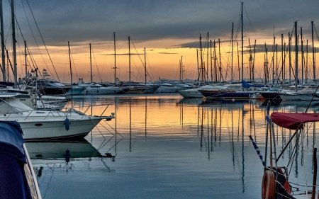 Yachts - marina, yachts, reflection, sailboats, calm