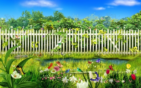 Springtime - butterflies, fence, flowers, blossoms, birds, trees