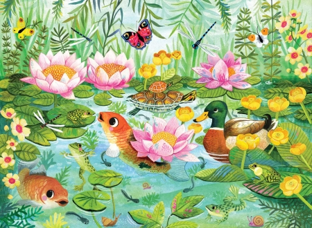 Gathering at the Pond - pobd, birds, butterflies, fish, gathering