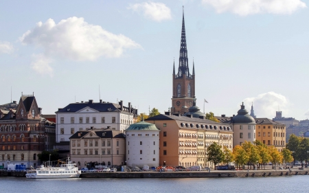 Stockholm, Sweden - Sweden, church, houses, Stockholm, ship
