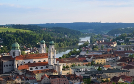 Passau, Bavaria, Germany - river, city, Germany, bridges, church