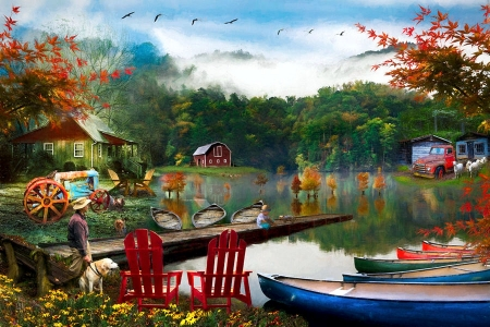 On a Peaceful Country Evening - chairs, man, trees, cabins, lake, dog, pier, sky, artwork, boats, painting