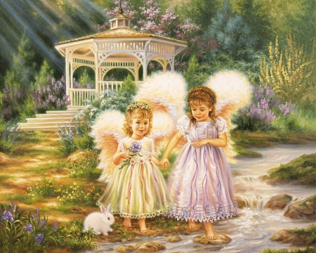 Angel Girls - girls, childs, rabbit, angels, wings