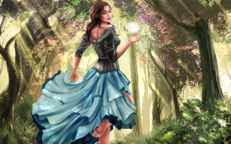 Fantasy Girl in Spring Forest - art, blossoms, trees, woman, digital