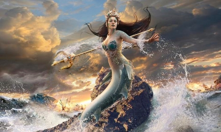 Mermaid in The Sea - brunette, fantasy, water, temptress, Tripod, Mermaid, ocean, browns