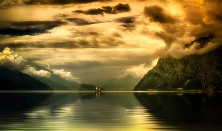 beyond infinity - sailboat, clouds, mountains, sea