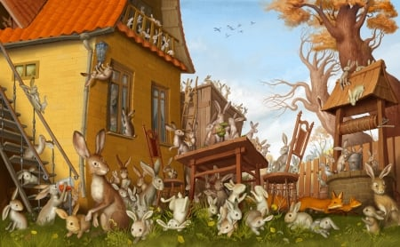 Bunnies - art, fantasy, house, rabbit, luminos, cottage, bunny, ivan sulima, cute