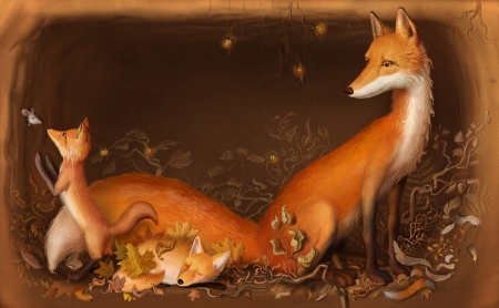 In the burrow - red, art, frumusete, orange, luminos, baby, mother, animal, cute, vulpe, fantasy, fox, cub, ivan sulima