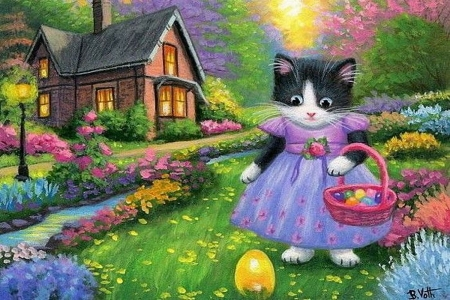 Easter morning - house, basket, painting, garden, eggs, flowers, cat, artwork