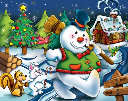 Happy Snowman - snow, winter, puzle, man, bunny, jigsaw