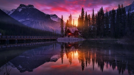 Yoho NP, Canada - national park, cabin, sunset, reflection, Yoho, lake, Emerald, beautiful, sky, mountain, Canada