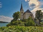 Church by Lake in Austria