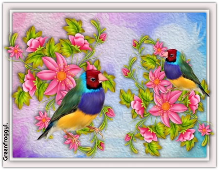 ABSTRACT ART - BIRD, ART, FLOWERS, ABSTRACT