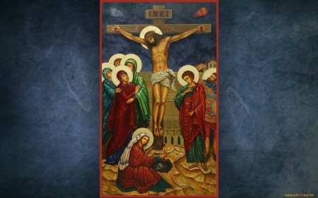 Passion of Christ - cross, Jesus, icon, saints, Good Friday, Mary