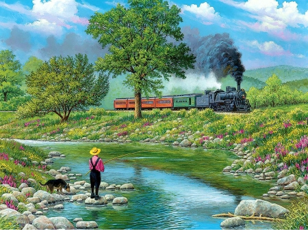 Around the bend - train, painting, steam, creek, man, trees, artwork, dog