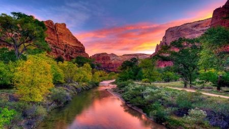 Virgin River Sunset Over Zion National Park, Utah - usa, mountains, color, clouds, canyons, sky, landscape