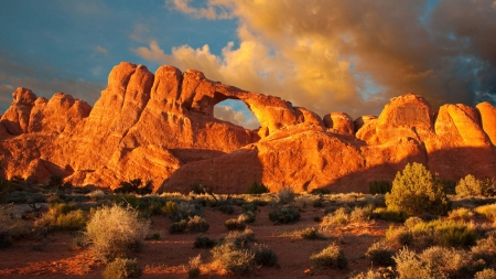 Sandstone Arches Arches National Park North Of Moab, Utah - sunset, clouds, sky, usa, rocks
