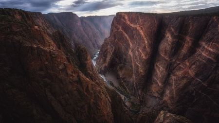 The painted walls of Black Canyon of the Gunnison, Colorado - cliff, river, usa, rocks, clouds, sky