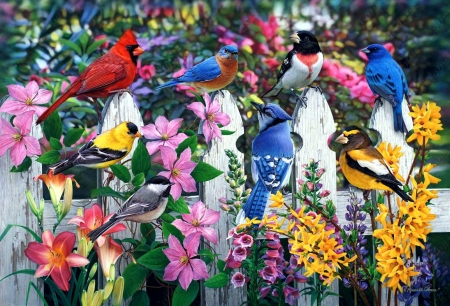 Meeting Place - fence, painting, flowers, birds, garden, artwork