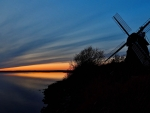 Windmill at sunset in Northern Germany
