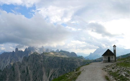 Chapel in Italy - chapel, Italy, mountains, Dolomites, path, clouds