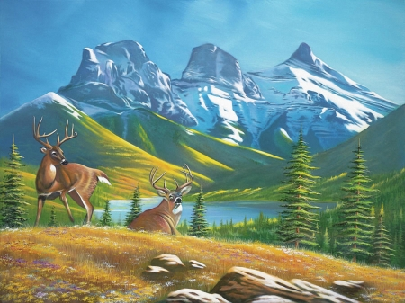 Deers in the Mountains - deers, nature, trees, mountains