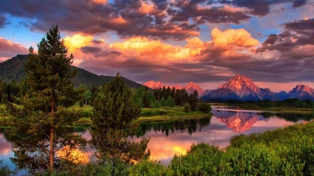 Grand Tetons, Snake river - Wyoming, usa, sunset, clouds, trees, sky, landscape