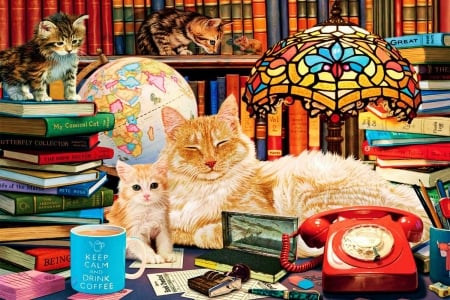 Academic Cats - telephone, books, kitten, table, lamp, painting