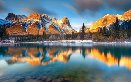 Bow Lake, Canmore, Alberta - water, reflections, canada, mountains, sky