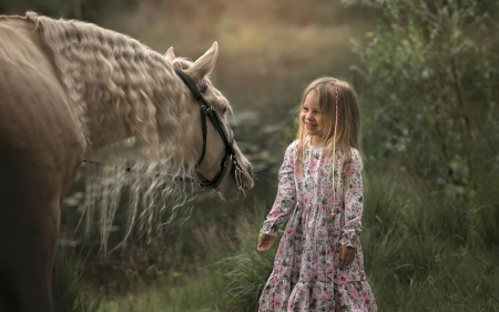 Smiling to Horse - smile, little, horse, girl