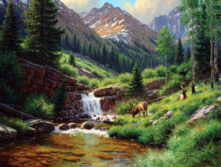 High Mountains - waterfall, grass, trees, mountains