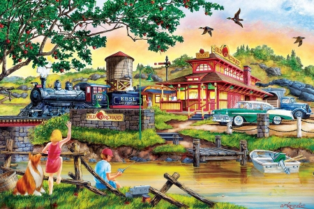 Apple Express - train, bridge, car, station, children, river, trees, artwork, boat, painting