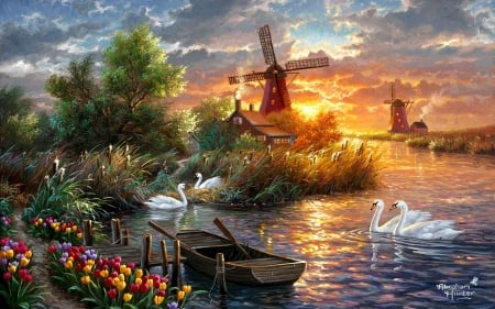 Holland in Spring - windmill, sunset, sky, clouds, trees, swans, artwork, boat, painting, flowers, river, tulips