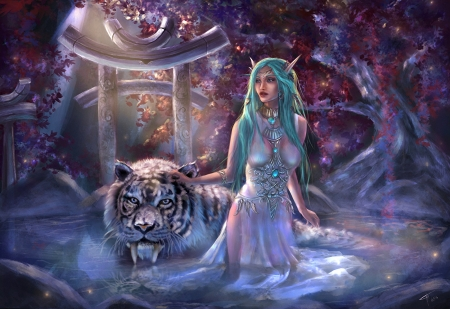 Magical - art, tiger, girl, elf, digital
