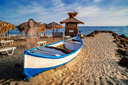 Bikini Model ~ Katya Clover - model, bikini, brunette, beach, boat, smile