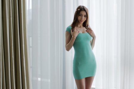 Gorgeous Mila Azul in a Green Dress - brunette, smile, dress, model