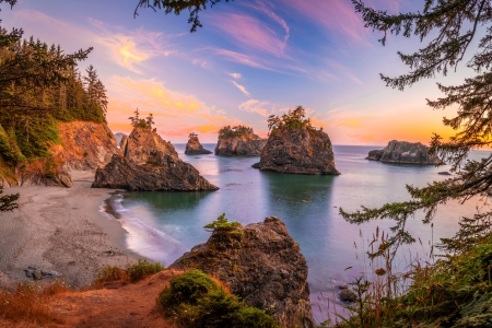 Sunset on the Oregon Coast - beach, sunset, nature, coast