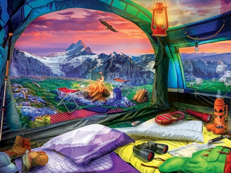 Hiker's Dream - painting, eagle, sunset, bed, caravan, landscape, table, binoculars, lamp, campfire, mountains