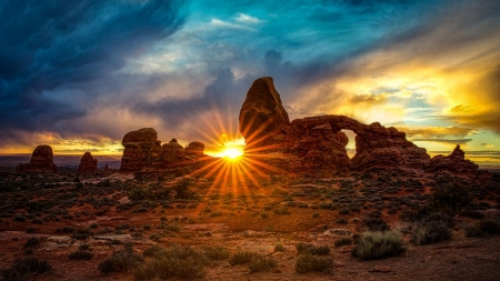 Sunset behind Turret Arch - Moab, utah, sun, usa, sky, clouds, landscape