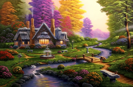 A Dreamy Retreat - painting, flowers, creek, trees, sky, artwork, fountain, cottage, swan, bridge