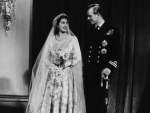 HRH The Princess Elizabeth with HRH The Prince Phillip on their wedding day