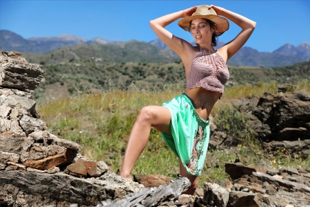 Cowgirl ~ Calypso Muse - dress, model, cowgirl, outdoors