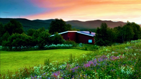 Cabin at Sunset - landscape, hills, colors, flowers, trees, sky, meadow